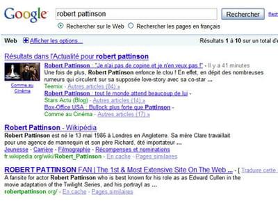 résultats de google pour la requête 'robert pattinson'