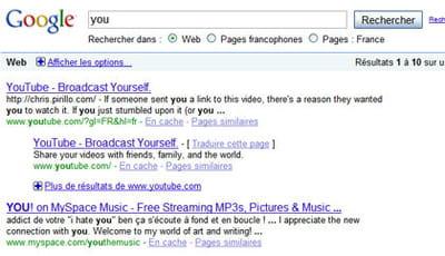 résultats de google pour la requête 'you'