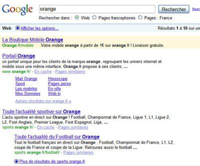 résultats de google pour la requête 'orange'