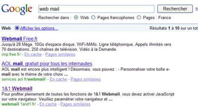 résultats de google pour la requête 'web mail'