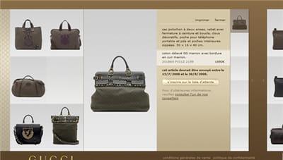 exemple d'une fiche produit de l'e-boutique gucci