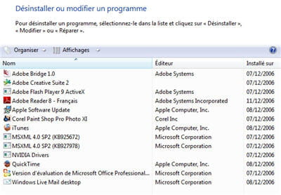 la liste des applications dans vista