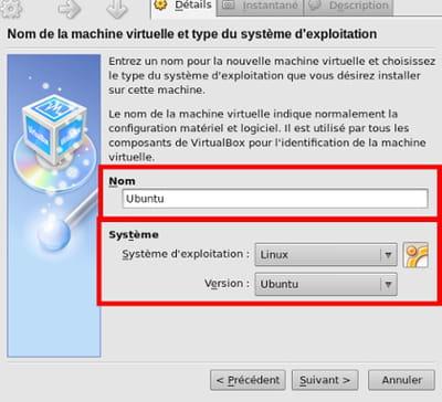 sélection du système - virtualbox