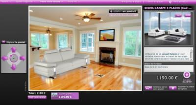 le même salon après ajout d'un canapé sur achatdesign.com