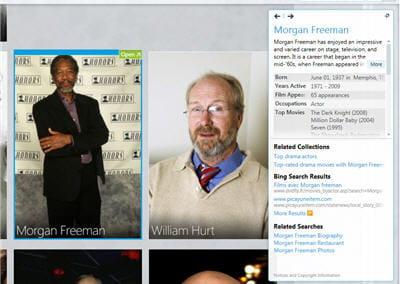 on rapproche la recherche sur morgan freeman. un clic sur la photo apporte des