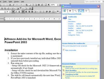 la solution d'ecm d'alfresco est intégrée à microsoft office et open office. ce