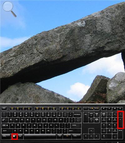windows et la touche + pour zoomer, et - pour dézoomer