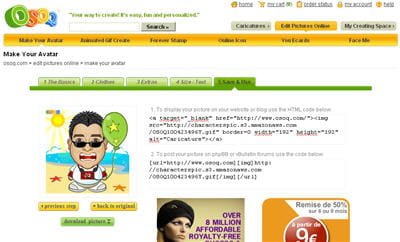 un exemple de création d'avatar.