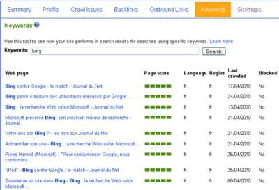 le keywords tool reprend le modèle de tableau de bord du summary tool.