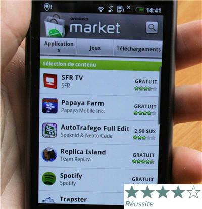 l'androïd market est bien fourni en applications diverses (jeux, outils
