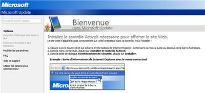 l'écran de téléchargement des mises à jour de sécurité sur le site windows
