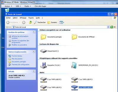 le mode xp sous windows 7 passe par un système de virtualisation.