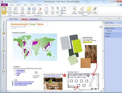 onenote gère tout type de documents : textes, notes, images. on peut les placer