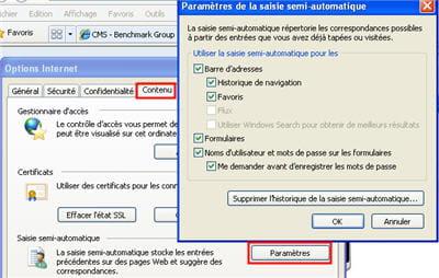 le menu pour accéder à l'option de saisie semi-automatique des champs.