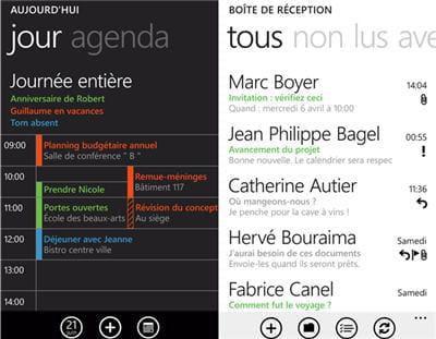 a gauche, une vue du calendrier, à droite, une capture du client mail.
