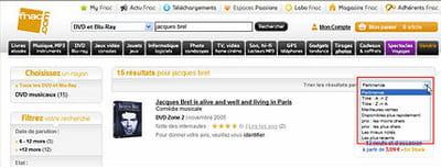 sur fnac.com, les résultats peuvent être retriés par titre, meilleures ventes,