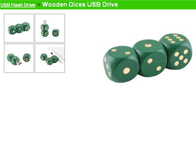 le wooden dices usb drive