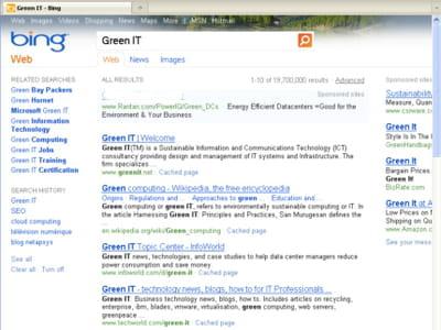 quatre premiers résultats de bing sur la requête green it.