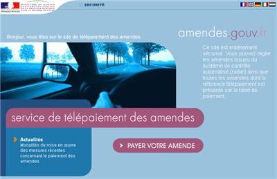 copie d'écran du site amendes.gouv.fr