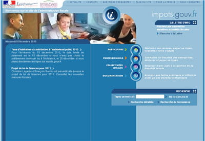 copie d'écran du site impots.gouv.fr