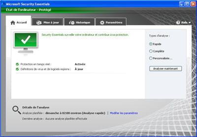 copie d'écran du logiciel microsoft security essentials.