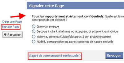 l'option signaler un contenu d'une page facebook