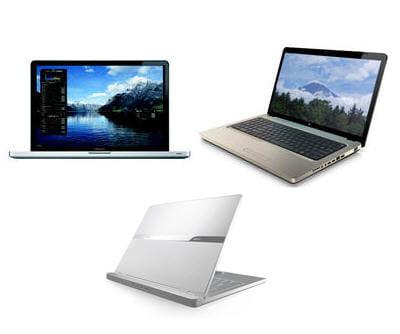 en haut à gauche, le macbook pro d'apple, à sa droite le hpg72-150ef, en bas le