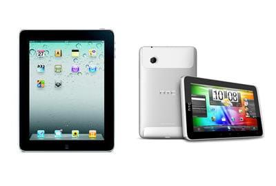 a gauche, l'ipad d'apple, à droite le htc flyer