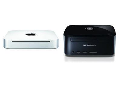 a gauche le mac mini, à droite le dell inspiron zino hd.