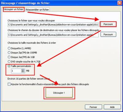 l'option qui permet de découper ses gros fichiers sous glary utilities