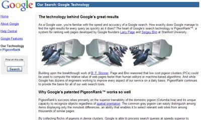le pigeonrank, le secret de l'efficacité de google
