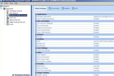 la console de gestion de res software.