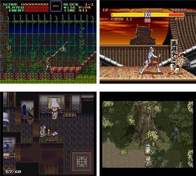 copie d'écran de jeux snes disponibles sur le site officiel de zsnes.