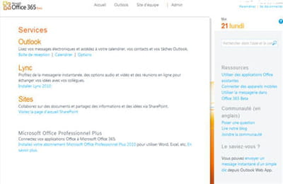 l'interface d'administration d'office 365