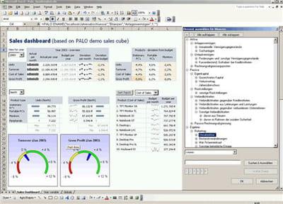 capture d'écran de la solution décisionnelle palo.