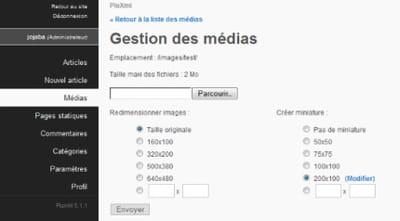 copie d'écran de l'interface de gestion média.