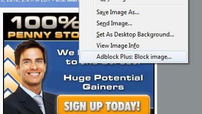 copie d'écran de l'extension adblock plus