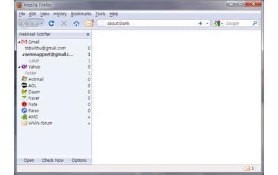 copie d'écran de l'application webmail notifier sous firefox.