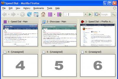 copie d'écran de l'extension firefox speed dial.