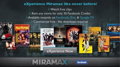 miramax propose de payer la location de films en facebook credits sur son