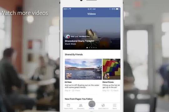 Facebook teste un onglet vidéo au sein de son application