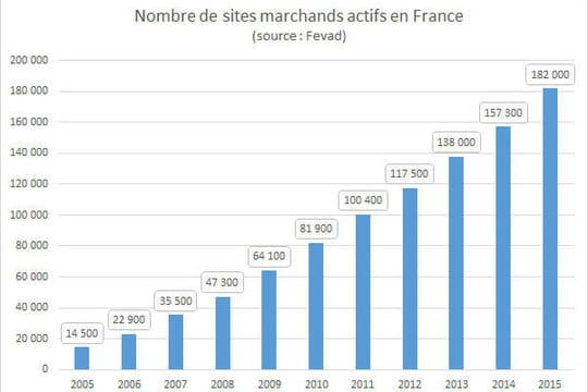 Nombre de sites marchands en France