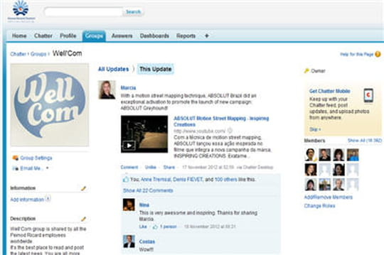 Pernod Ricard et réseau social d'entreprise Chatter