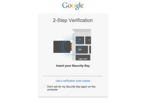 Google propose de s'identifier à ses comptes avec une clé USB
