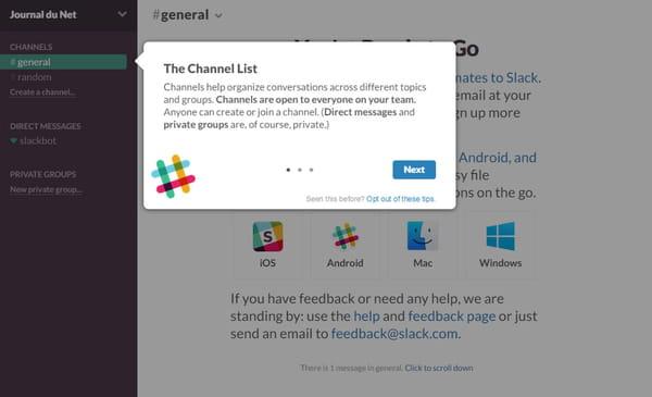 slack offre la possibilité de créer un channel.