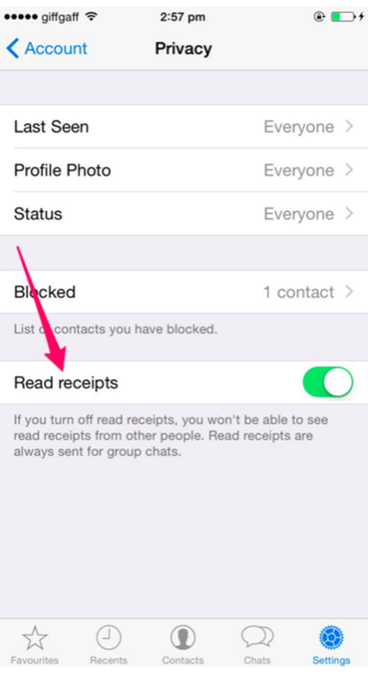 Désactiver la confirmation de lecture - comme sur iMessage
