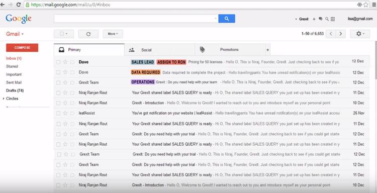 GrexIt crée des libellés et notes pouvant être partagés sur Gmail