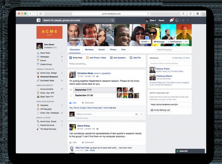 Voici un petit aperçu de Facebook at Work