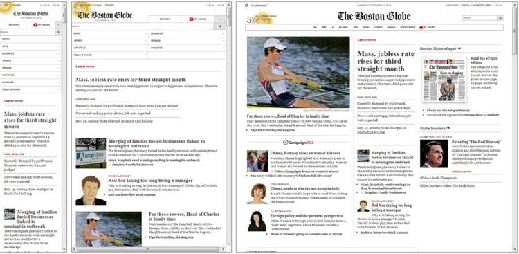 bostonglobe com   10 exemples de responsive design