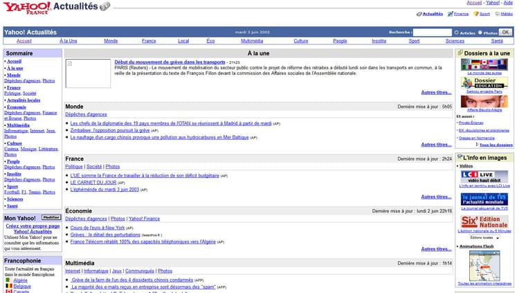 Yahoo! Actu en 2003